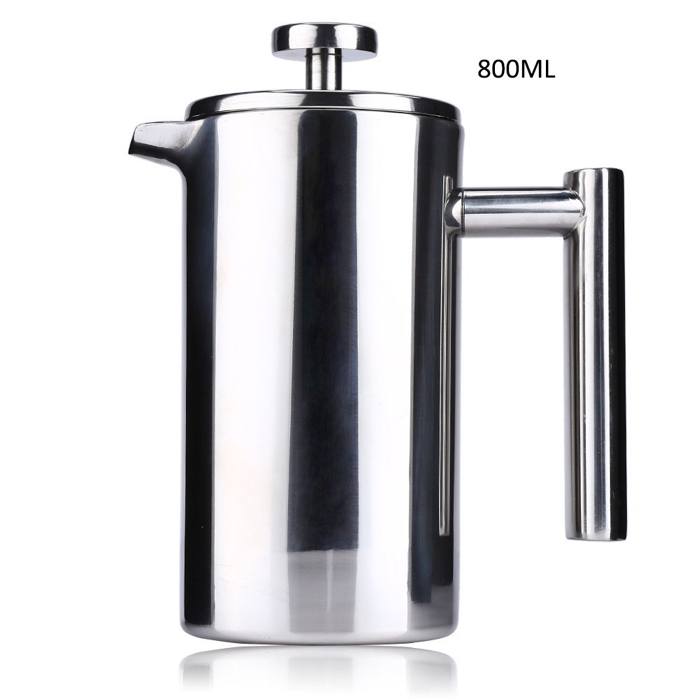 TFTEAM Coffee Press Pot, 800ML Double Stainless Steel French Insulated Coffee Pot Teapot Pressure Pot for Family, Office