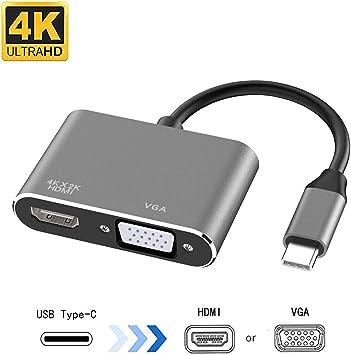 Tipo C a HDMI VGA Adaptador Convertidor multipuerto a 4K Monitor Proyector 1080P TV para Thunderbolt