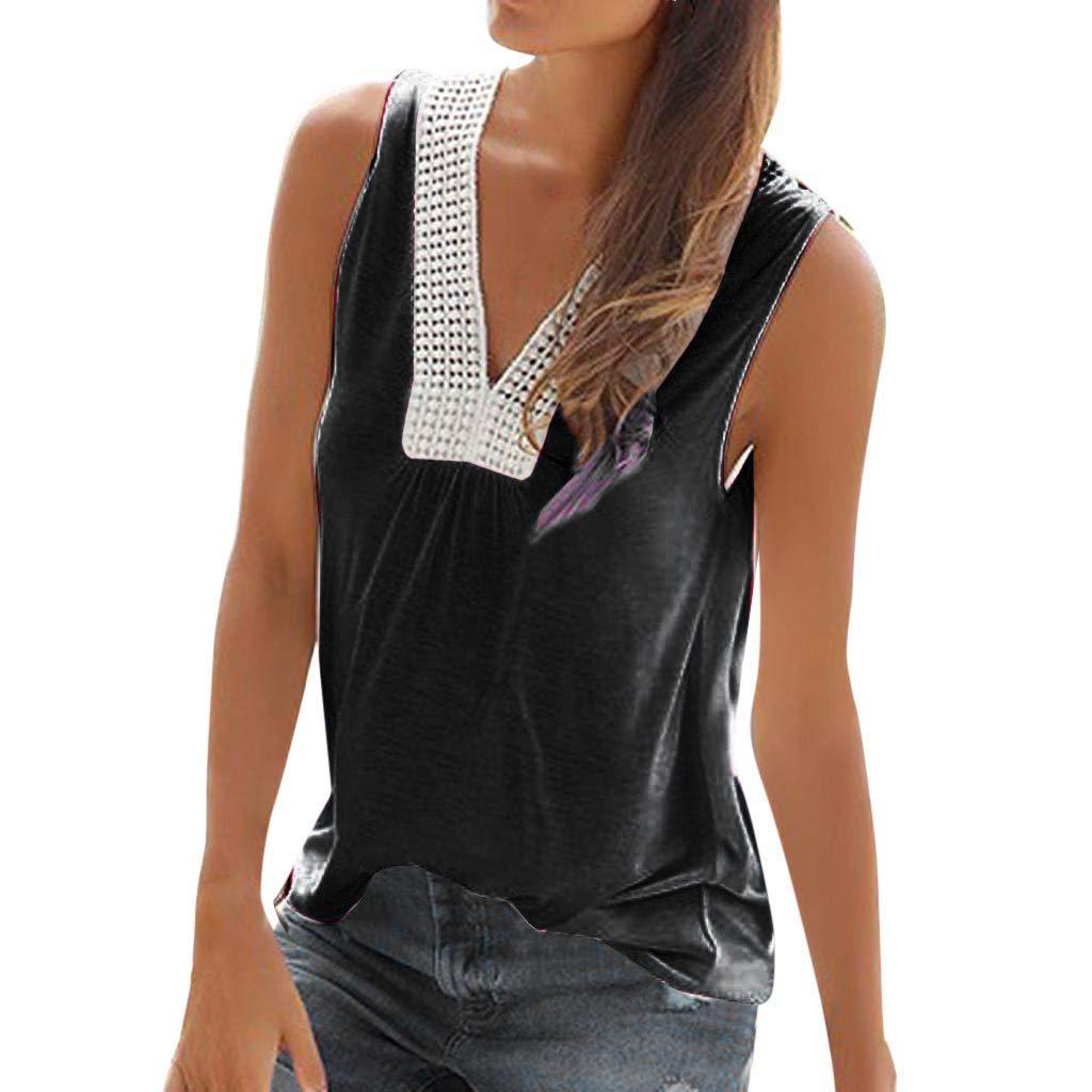 Womens Tank Tops Summer V Neck Casual Cami Shirts Basic Blouse (L, White)