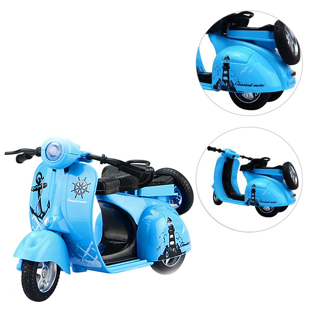 blue 1:14 Scale Mini Alloy Pull Back Cute Motorcycle Diecast Vehicle Model Kids Toy Gift