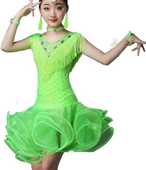 ZYLL Disfraces de Baile Latino para niños, Falda Latina de Rumba y ...