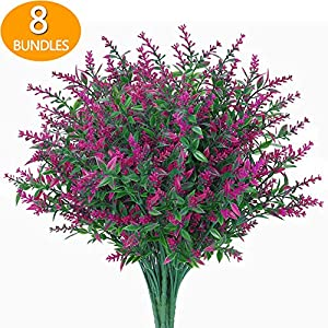 GREENRAIN 8 Bundles Artificial Lavender Flowers Outdoor Fake Flowers for Decoration UV Resistant No Fade Faux Plastic Plants Garden Porch Window Box Décor (Orchid)