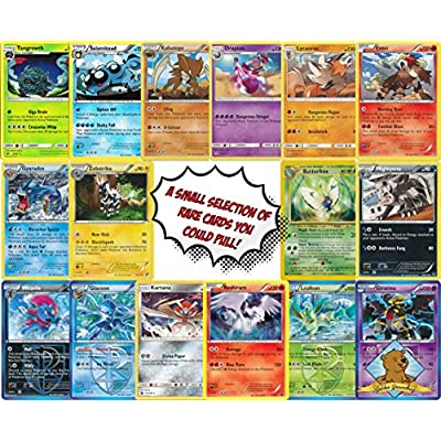 100 Pokemon Card Lot Featuring 1 Bonus 10 Card Booster Pack - Coin - 5 Rares! Includes Golden Groundhog Treasure Box!: Toys & Games