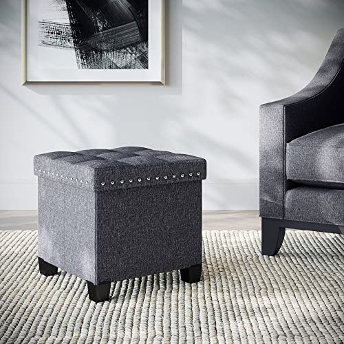 Nathan James Payton Foldable Storage Ottoman Footrest and Seat