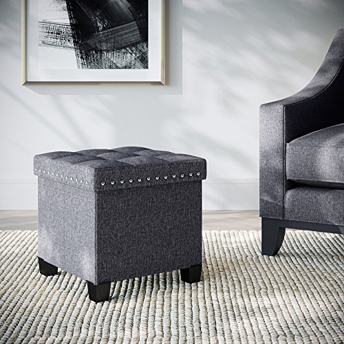 Nathan James 71102 Payton Foldable Storage Ottoman Footrest and Seat Cube, Gray