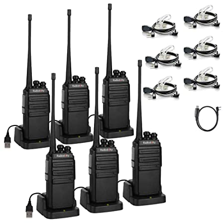 Radioddity GA-2S Long Range Walkie Talkies UHF Two Way Radio for Hunting Fishing Camping Security with Micro USB Charging Air Acoustic Earpiece with Mic 1 Programming Cable 6 Pack