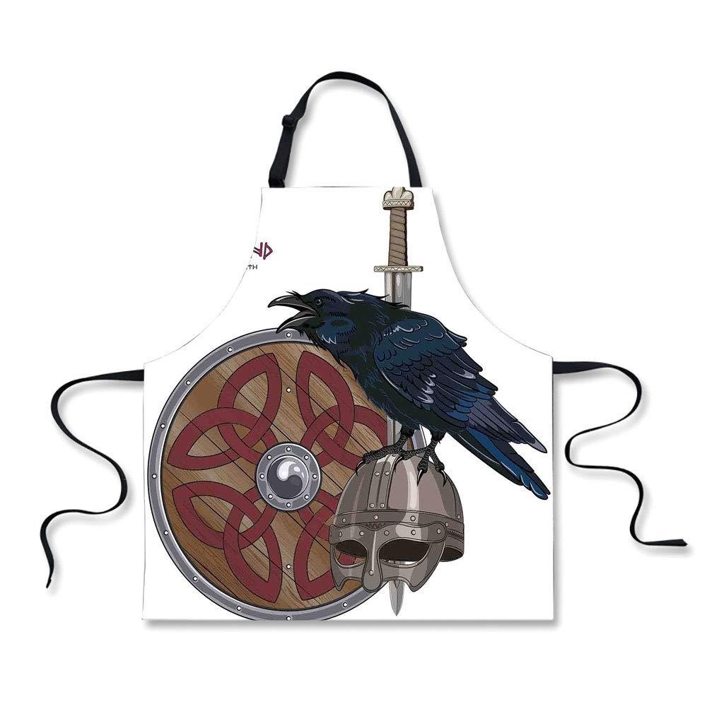 iPrint Custom Apron,Viking,Raven on Steel Helmet Nordic Sword Shield Warfare Scandinavian Army Medieval Armour,Black White,Home Apron.29.5''x26.3''
