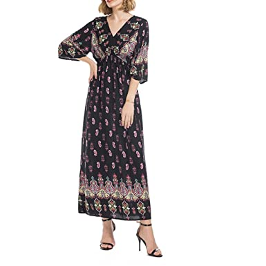 635c2a5a2e2 Femmes National Style V-Cou Position Imprimer Trompette Manches Longues Robe  Flare Manches Plage Casual