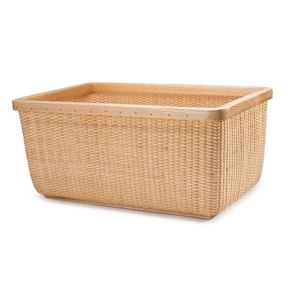 Tengtian Brand, Nantucket Basket, Storage Basket, Square Box, Desktop Organizer, America White Wood, Imported Indonesian Rattan, China Traditional Handicrafts, Casual Style, Natural Environmental Protection (big)