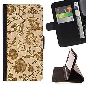 Momo Phone Case / Flip Funda de Cuero Case Cover - Papel pintado retro de la vendimia floral de las floraciones de Brown - Samsung Galaxy S5 Mini, SM-G800