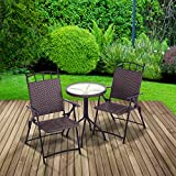 Trueshopping Bistro Patio Set Deauville Round Glass Top Table with Two very comfortable Folding Armchairs Indoor or Outdoor Use