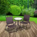 """Trueshopping """"Allegra"""" Rattan Effect Bistro Table & Chair Set: Round Table & Two Folding Arm Chairs - All Weather Indoor / Outdoor Use"""