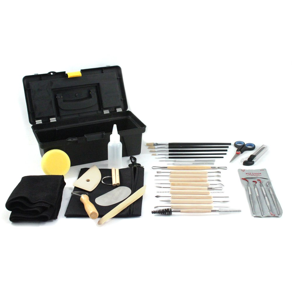 34pc Complete Universal Hobby Pottery Tool Craft Set for Sculpting & Molding Clay