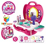 Toys Bhoomi Girls Bring Along Beauty Suitcase Makeup Vanity Toy Set, Pink