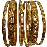 Women's Traditional Indian Sparkling Gold-Toned Ethnic Bangle Bracelet Set of Six (2-8)