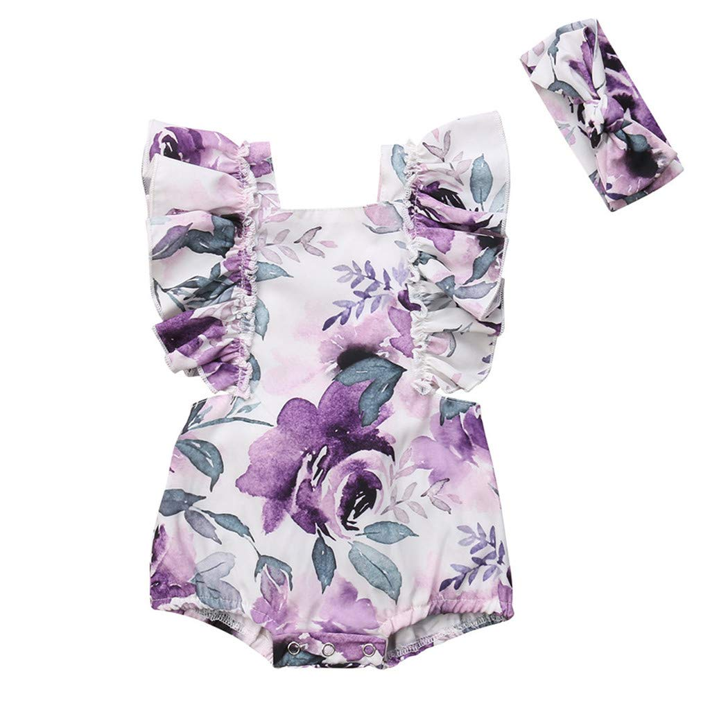 NUWFOR Newborn Infant Baby Girl Floral Printed Romper Headband Bodysuit Clothes Outfits(Z1-Purple,6-12 Months)