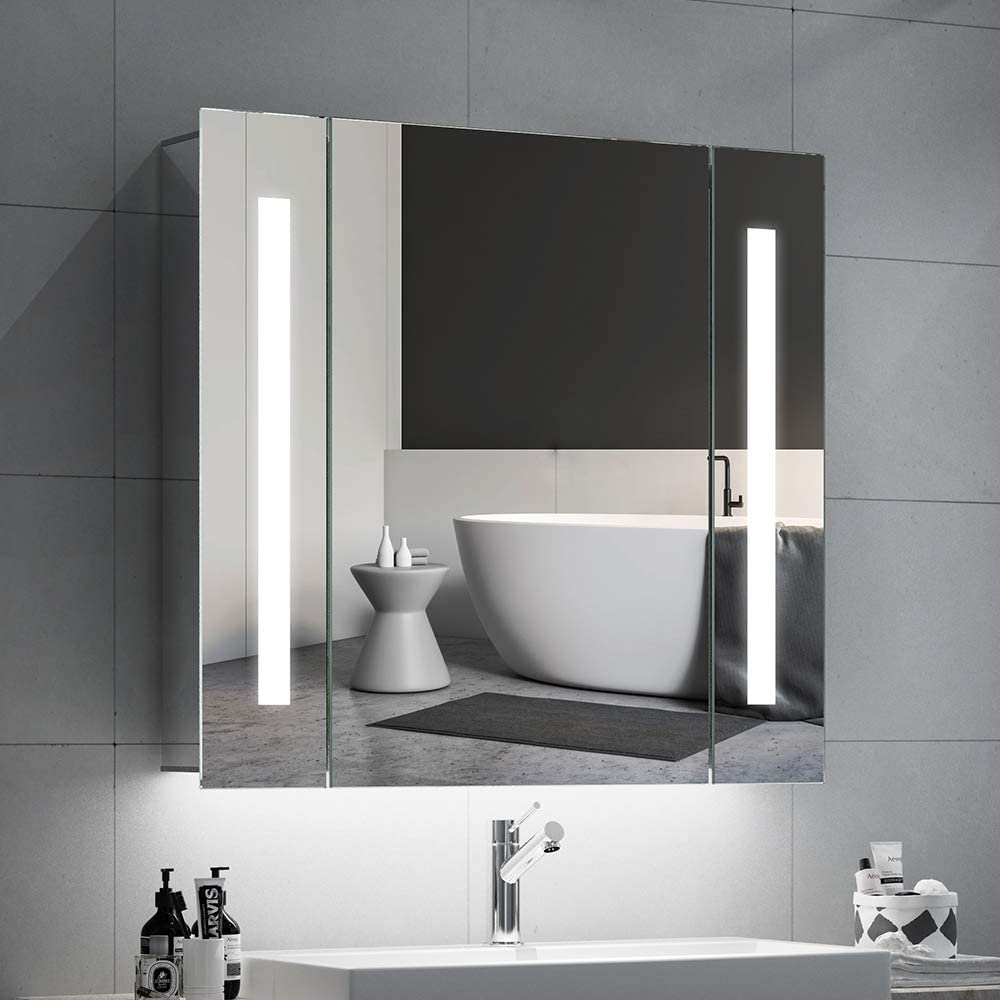 Quavikey Bathroom Mirror Cabinets LED Illuminated Mirrored Bathroom  Cabinets Wall Mounted With Light Shaver Socket Demister For Makeup Cosmetic  Shaver