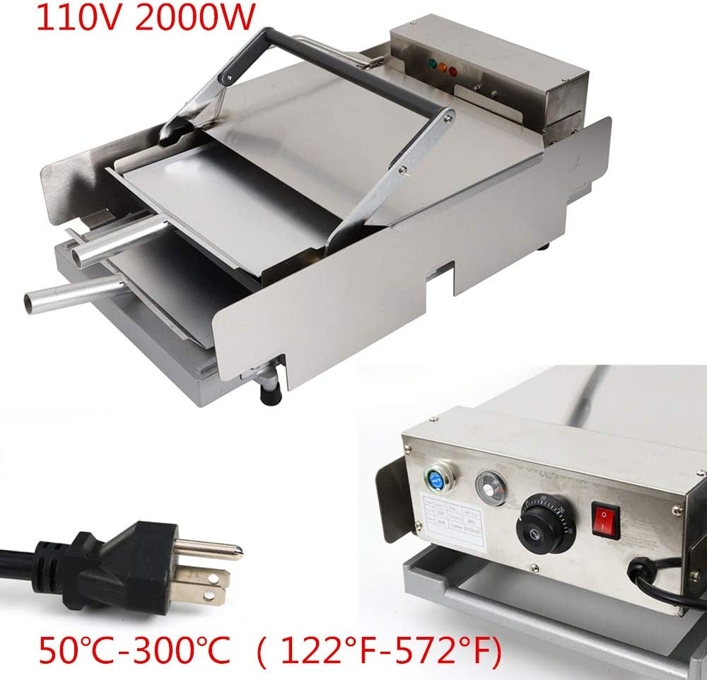 HYYKJ Electric Hamburger Baking Machine 110V 2000W Commercial Home Double Layer Burger Baker Batch Bun Toaster Bread Heating Charter Cooking 50-300°C