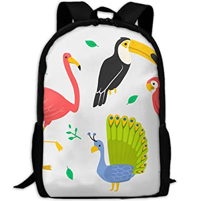 low-cost Peacock And Flame Bird Outdoor Shoulders Bag Fabric Backpack Multipurpose Daypacks For Adult