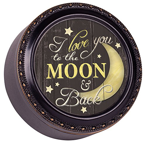 Love You To The Moon And Back Black and Gold Trim Tiny Round Keepsake Box - Open Carefully Message Inside