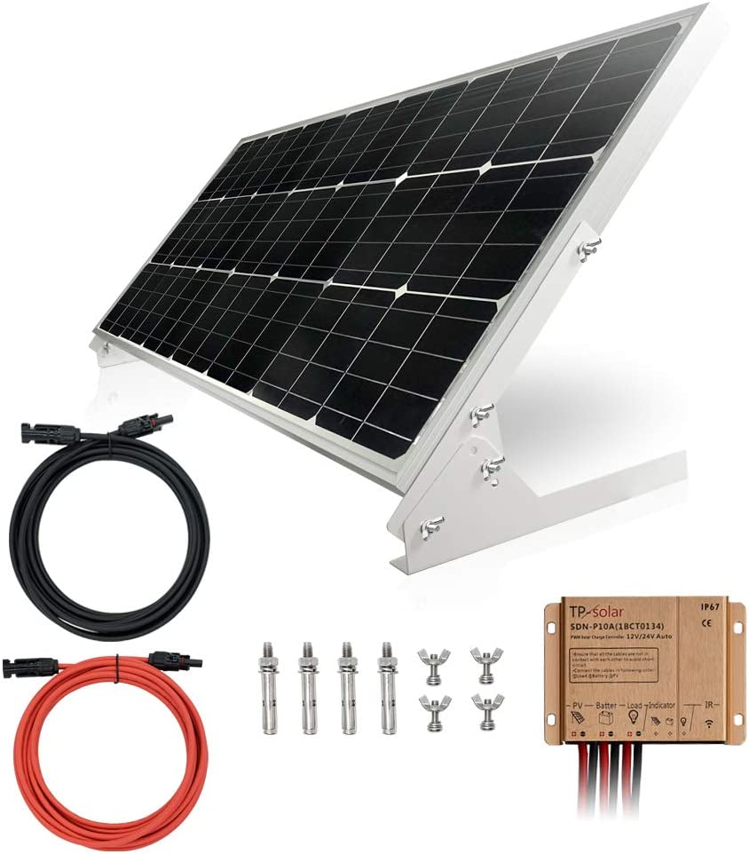 Amazon Com Tp Solar 100w 12v Solar Panel Kit Battery Charger 100 Watt 12 Volt Off Grid System For Homes Rv Boat 20a Solar Charge Controller Solar Cables Brackets For