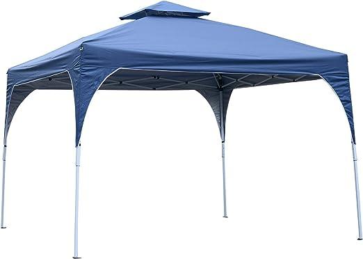 Outsunny toldo de 10 x 10 pies fácil de desplegar, toldo para fiestas con toldo de 2 niveles, color azul: Amazon.es: Jardín