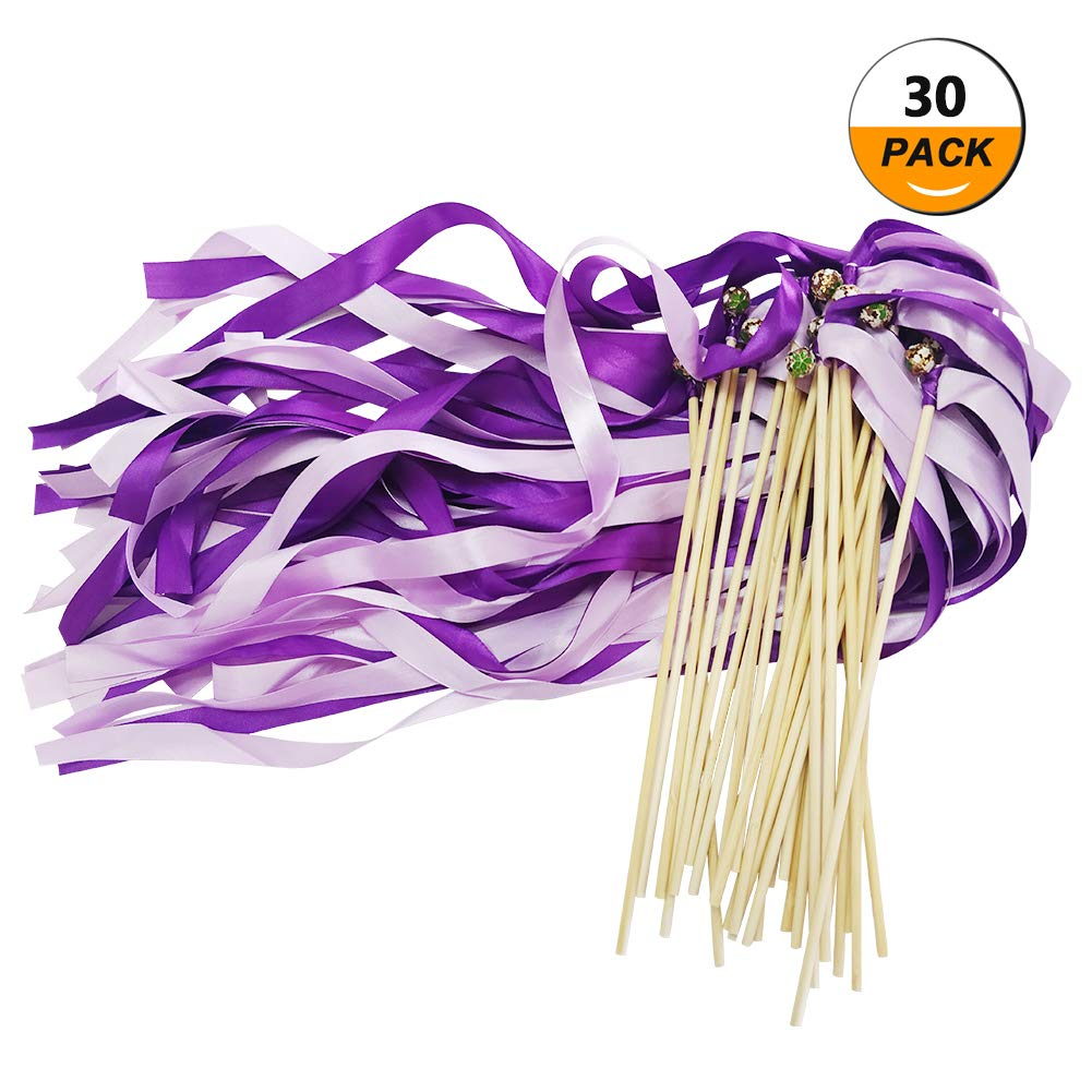 CODOHI Silk Ribbons Wish Wand Fairy Sticks Streamers, Wedding Theme Party Favor(30 Pack)-Purple