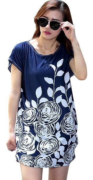 1d3ae3dd6c20f Blusas Estampadas Tallas Grandes Mujer Largas Camisas Vestir Verano Impreso  Floral Tops Manga Corta Camisetas Tunicas Fiesta Moda Largo Camiseras Cuello  ...