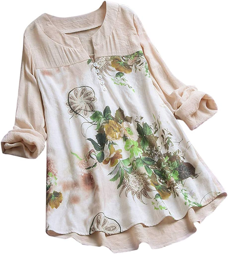 EDC Womens 2019 Floral Printed Linen Boho Blouse Vintage V-Neck Patch Long Sleeves Top T-Shirt Pullover Tees Shirts