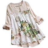 Fankle Women's Blouse Top Tunic Shirt Sale Cotton Linen Vintage Bohemian Floral Print V-Neck Long Sleeve Pullover Comfy Breathable