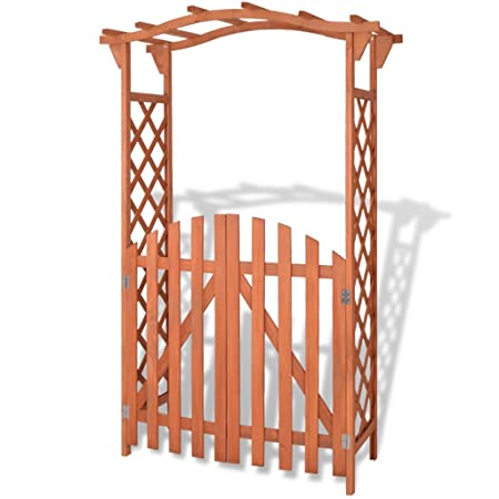 Vidaxl Garden Arch With Gate Fir Wood 120x60x193cm Climbing Plants Trellises