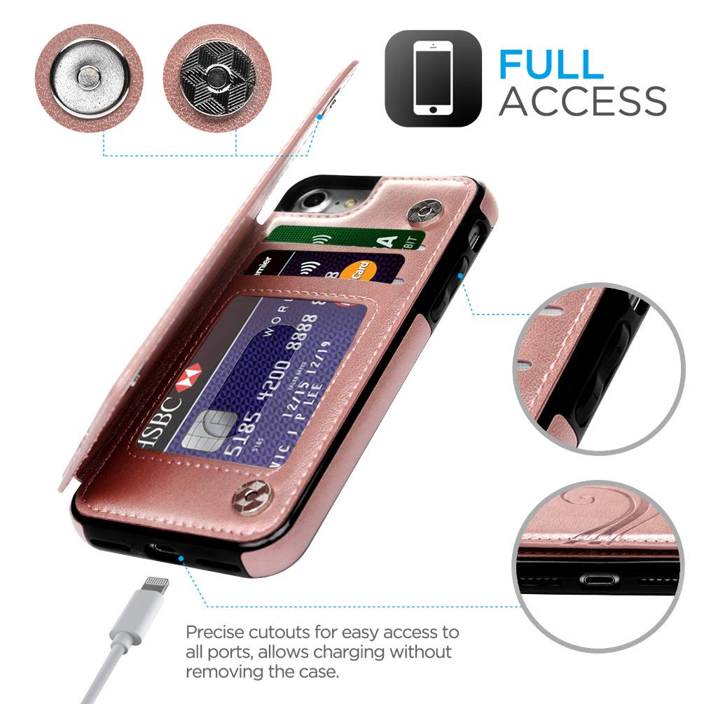 Promixc iPhone 7 Case, iPhone 8 Wallet Case with Card Holder Embossed Butterfly PU Leather Kickstand ID Credit Card Slots Folio Flip Protective Skin Cover for Apple iPhone 7/iPhone 8 Rose Gold