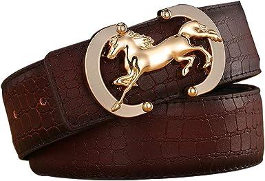 Cinturones Cuero Genuino 100% Hombre/Mujer (caja Regalo), Cinturón Jeans Moda, Hebilla Aguja Suave Aleación Oro/Plata, Cinturón Diseño Cocodrilo Cuero Vaca Marrón Oscuro, 120 Cm Ancho 35 Mm: Amazon.es: Ropa y accesorios