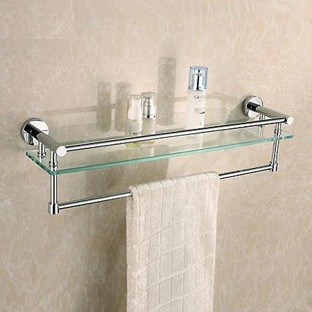 Etagère en verre avec porte-serviette salle de bain ...