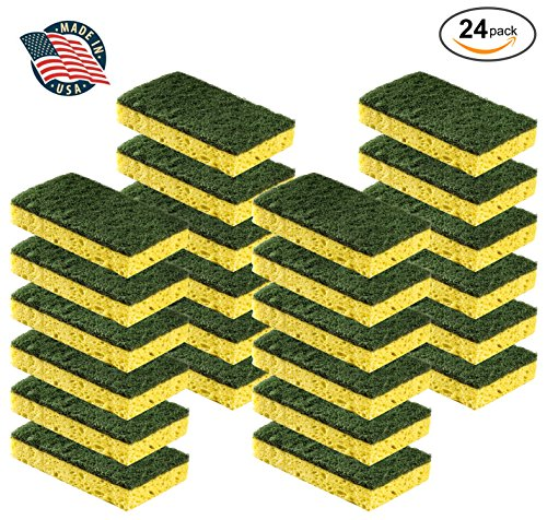 Cleaning Heavy Duty Scrub sponge by Scrub-it - Non-Scratch - Scrubbing Sponges Use for Kitchen, Bathroom & More - Yellow -24 - Non Scrub Scratch Sponge