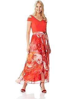 27a15564b4 Roman Originals Women Floral Print Cold Shoulder Maxi Dress - Ladies  Special Occasion…