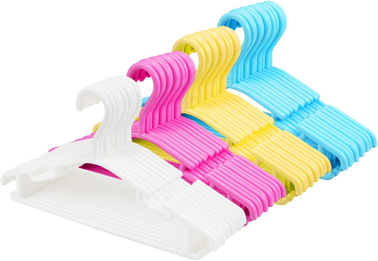 Tebery 40 Pack Plastic Kids Baby Hangers Nonslip Assorted Color Children Toddler Hangers for Laundry and Closet