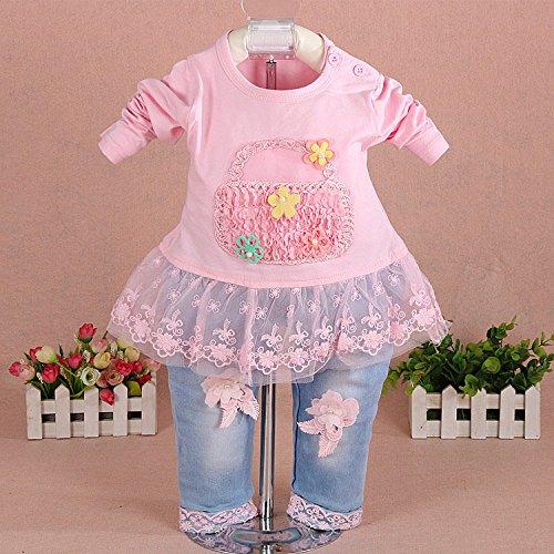 YOA Baby Girls Clothing Set 3 Pieces Sets T Shirt Denim Jacket and Jeans