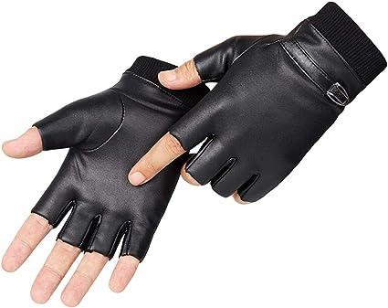 Mode Sch/ädel Fingerlose Handschuhe Kunstleder Motorrad Radfahren Halbfingerhandschuhe Verzierte Metall Sch/ädel Gothic Punk Stil f/ür M/änner oder Frauen