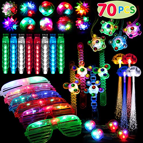 70 Pack Light Up Toys Party Favors Glow in the Dark Party Supplies for Boys Girls Kids Adults with 6 Flashing Glasses 10 Jelly Rings 4 Hand Spin Necklaces 4 Hand Spin Bracelets 40 Finger Lights and 4 Fiber Optic Hair Lights
