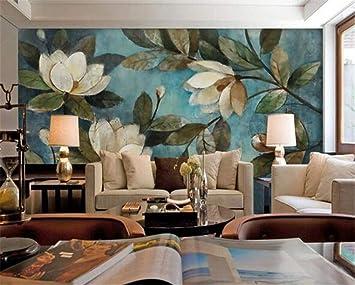 Wallpaper 3d Wallpaper Su Larga Scala Grande Murale Pittura A Olio Floreale Blu Gardenia Wallpaper Sfondo Muro Per Pareti 3d Murale 3d 200cmx140cm Amazon It Fai Da Te