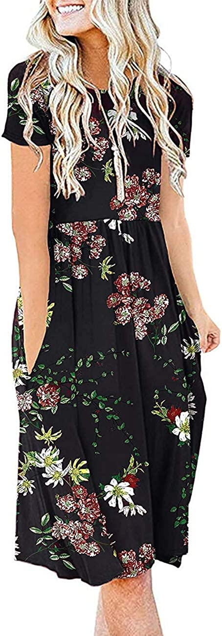 Melynnco Women's Summer Casual Short Sleeve Floral Dresses with Pockets