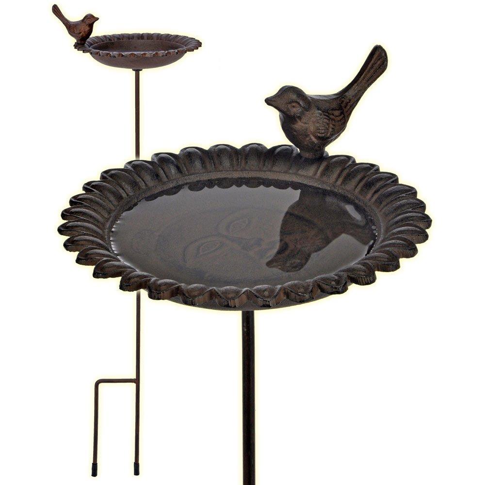 Vogeltränke Gusseisen antik-braun mit Stab: Amazon.de: Haustier