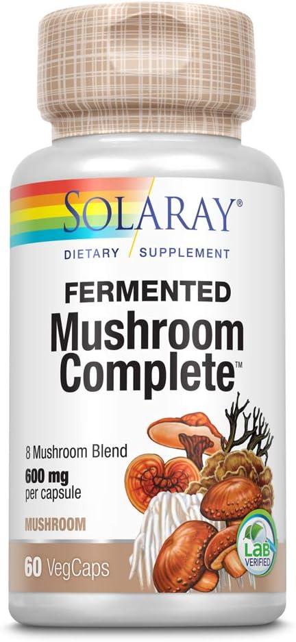 Solaray Fermented Mushroom Complete 600 mg | Healthy Immune Function Support | 30 Serv | 60 VegCaps