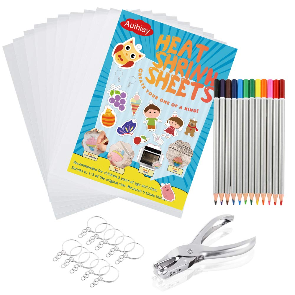 Auihiay 33 PCS Heat Shrink Plastic Sheet Kit Include 10 PCS Shrinky Art Paper, Hole Punch, Keychains, Pencils for Kids Creative Craft