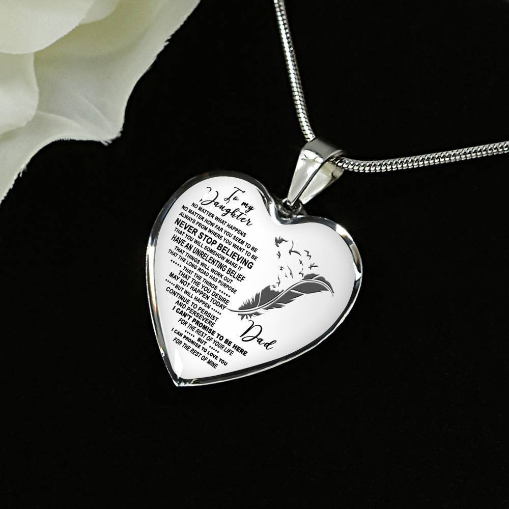 Best birthday gift for kid from mom AZ Gift To Keep dad/daughter/necklace fashion/jewelry I can promise to love you for the rest of mine DEEPEST LOVE Meaningful quote
