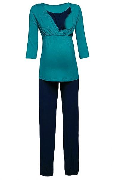 Para Mujer Pijama Premamá Embarazo Lactancia Ropa de Dormir. 060p (Aguamarina