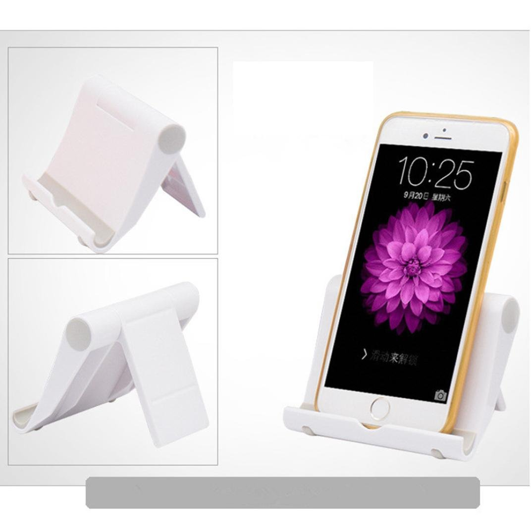 Phone Tablet Holder - Universal Foldable Desktop Holder Stand Cradle Mount For Cell Phone Tablet (White)