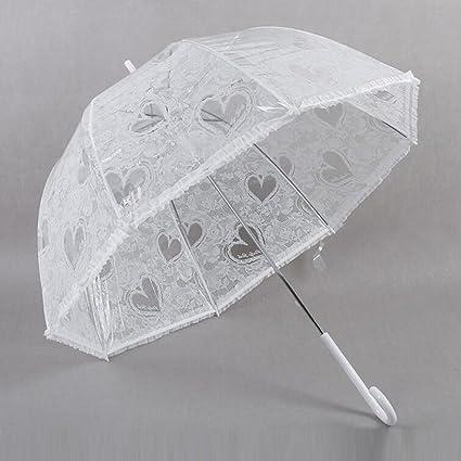 bpblgf Boda Paraguas Transparente Grueso Encaje De Amor Paraguas Transparente Mujer,Compacto Liviano FáCil De