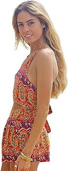 cba227ab05ad Amazon.com  SMTSMT Women Floral Backless Frenum Chiffon Bodycon ...